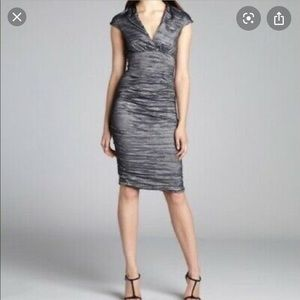 🌻Nicole Miller Ruched Crinkled Metallic dress